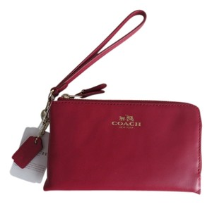 Coach Leather Zip Around Wristlet in Red