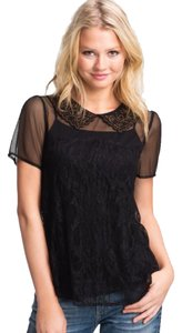 Remain Peter Pan Collar Peter Pan Top Black
