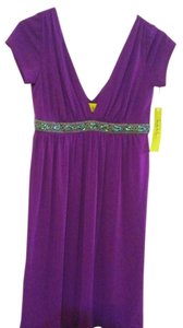 Nicole Miller Beaded Empire Waist Embroidered V-neck Studio One Dress