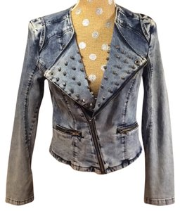 Romeo & Juliet Couture Denim Motorcycle Studded Womens Jean Jacket