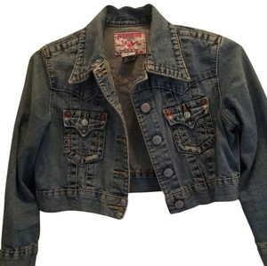 True Religion Light distressed denim Womens Jean Jacket