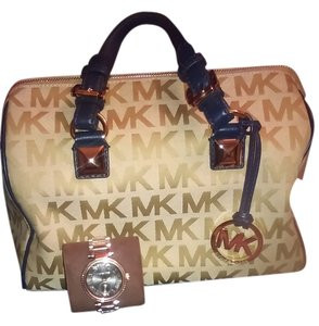 Michael Kors Grayson Satchel in Brown and Navy Blue