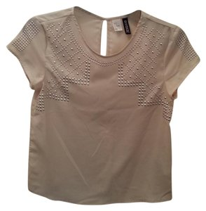 Divided by H&M Studded Sheer Top Ivory