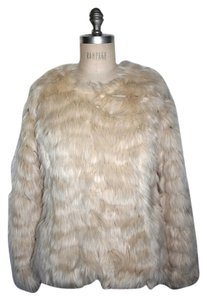 Anthropologie Tiered Faux Fur IVORY Jacket