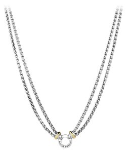 David Yurman David Yurman 18 Karat Yellow Gold and Sterling Silver Double Wheat Chain