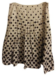 Cato Twirl Flounce Tea Length Formal Casual Skirt Polka Dot White