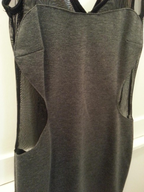Foreign Exchange Mesh Sheer Heather Gray Dress