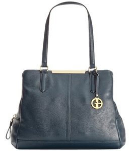Giani Bernini Pebble Leather Swagger Satchel in Navy