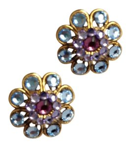 Unknown Crystal Flower Stud Earrings