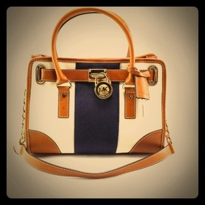 Michael Kors Hamilton Handbag Women's Stripe Leather Tan Brown Gold Lock Satchel in White & Navy