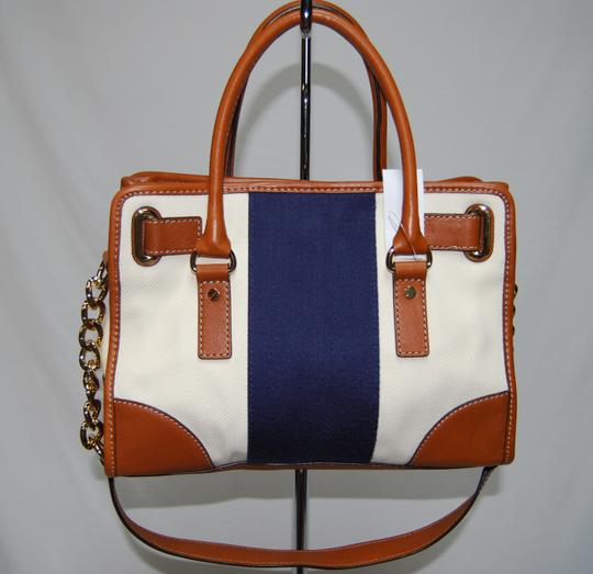 Michael Kors Hamilton Handbag Women's Stripe Leather Tan Brown Purse Gold Lock Satchel in White & Navy