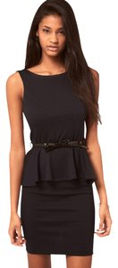 ASOS Pencil Boat Neck Work Wear Sleeveless Form Fitting Knit Bodycon Frill Peplum Office Uk Size 14 Dress