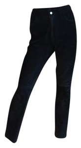Tommy Hilfiger Suede Leather Straight Pants black