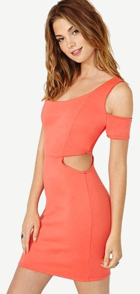 36b0ef4d6bfd Nasty Gal Bodycon Cut-out Cold Shoulder One Shoulder Short Sleeve Waist Cut  Outs Bright ...