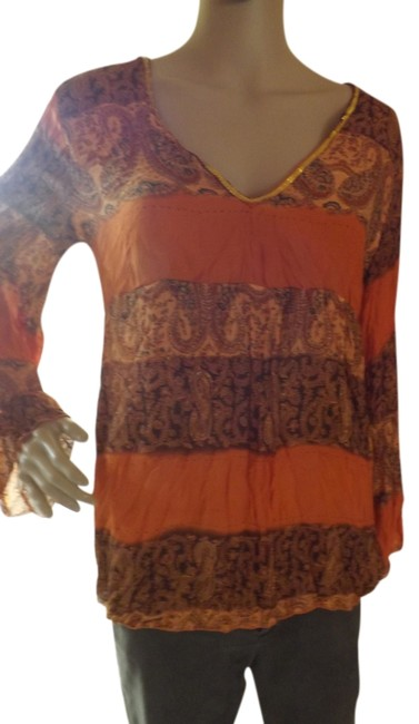 Item - Orange Multi Empire Waste Style Long Bell Sleeves V Neck with Gold Sequin Trim Paisley Print Tunic Size 8 (M)