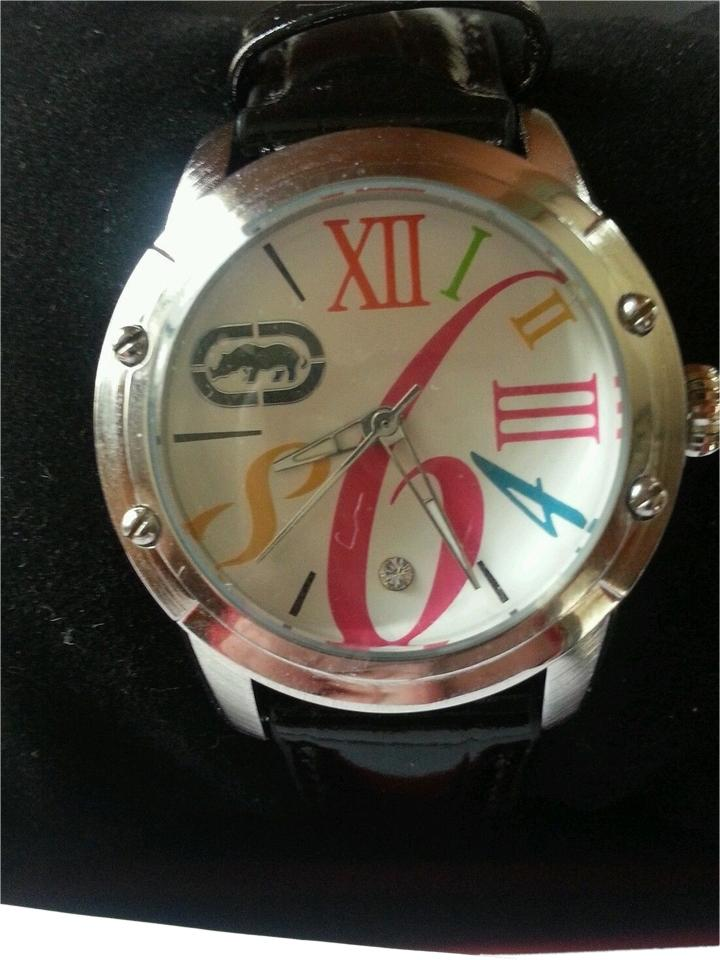 Marc Ecko Black Multicolored Box Rhino By Pink Teal Leather Women's New In  Watch