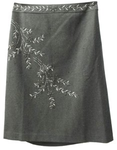 Ann Taylor Embroidered Skirt GRAY