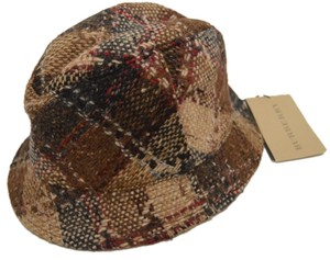 Burberry NEW BURBERRY $250 100% WOOL LONDON BROWN & GREY NOVA CHECK BUCKET HAT SMALL