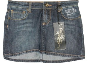 Ed Hardy Denim Jeans Mini Skirt BLUE
