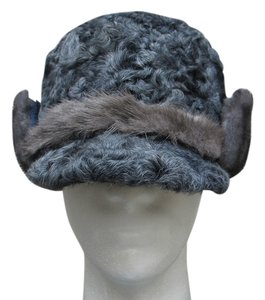 HAND MADE NATURAL BLUE GRAY PERSIAN SHEEP MEN'S HAT SIZE XL NEW WITH TAG