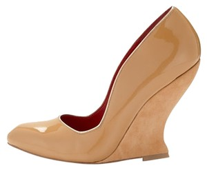 Charles Jourdan Patent Wedge New Nude Wedges