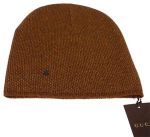 Gucci GUCCI 352350 Men's Beanie Ski Hat Light Brown/Beige Wool Cashmere - S