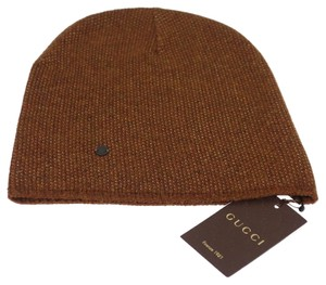 Gucci GUCCI 352350 Men's Beanie Ski Hat Light Brown/Beige Wool Cashmere - M