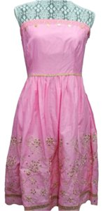 Express short dress PINK Cotton Strapless on Tradesy