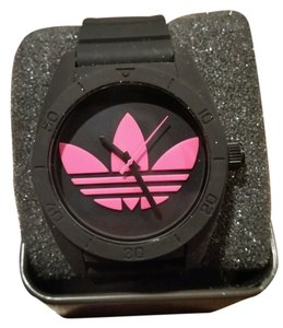 adidas ADIDAS ORIGINALS SANTIAGO BLACK and FUSCHIA PINK SILICONE UNISEX WATCH NEW