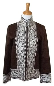 Ellen Tracy Embroidered Brown / white Jacket