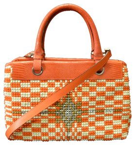 Bottega Veneta Vintage Starburst Mini Tote in Orange and White
