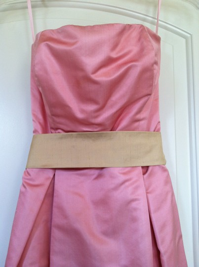 Blush Pink Silk Strapless A-line Formal Bridesmaid/Mob Dress Size 4 (S)
