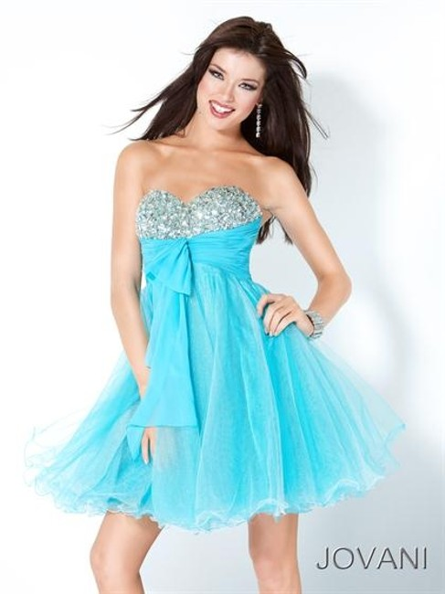 Item - Teal Above Knee Night Out Dress Size 14 (L)