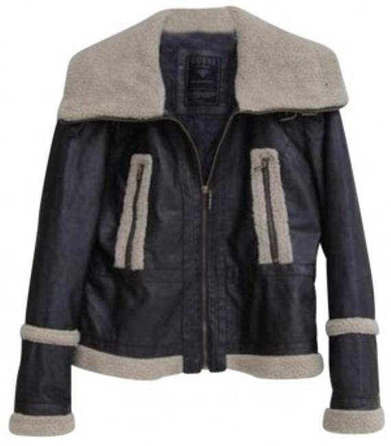 Item - Brown Womans Faux Leather Faux Shearling Coat Jacket Size 8 (M)