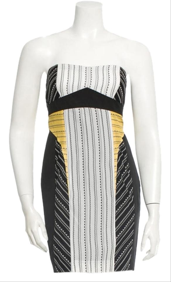 Helmut Lang Black White And Yellow Above Knee Cocktail Dress Size 0