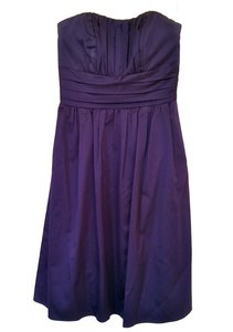 David's Bridal Lapis (Deep Purple) Cotton Sateen Strapless With Ruching Dress