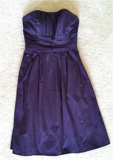 David's Bridal Lapis (Deep Purple) Cotton Shell; Polyester Lining Sateen Strapless with Ruching Formal Bridesmaid/Mob Dress Size 0 (XS)