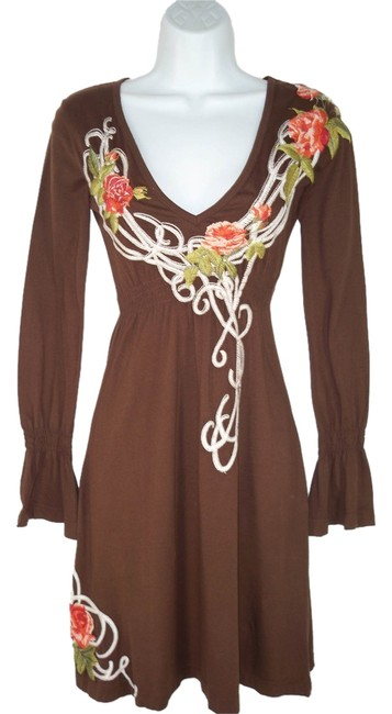 Johnny was brown embroidered knit dress tradesy