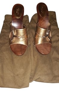 Gucci Leather High Heels New Mule Bronze/gold Mules