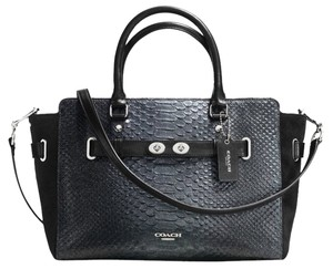 Coach Blake Carryall Gunmetal Embossed Exotic Trim Satchel in Gray