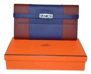 Hermès Authentic Rare New Hermes Blue Burgundy Two Tone Epsom Kelly Wallet Clutch