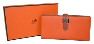 Hermès Authentic New Hermes Orange/Brown Two Tone Gusset Leather