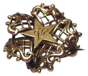 Antique Victorian Rose Gold Filled Filigree Star Brooch V monogram