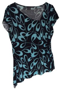 Suzie In The City Top Black and turquoise blue