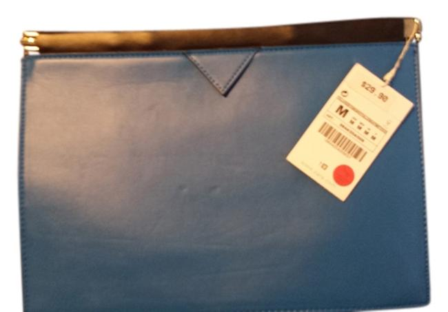 Item - Blue Faux Leather Clutch