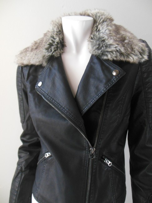 Happy Goat Lucky Cropped Faux Fur Biker Angle Zip Motorcycle Jacket