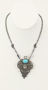 Other Rachel Brass Filigree Faux Turquoise White Rhinestone Pendant Necklace Bj05