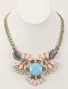 Other Pink Aqua Black Gold Faceted Stones Articulated Fashion Necklace Bj05