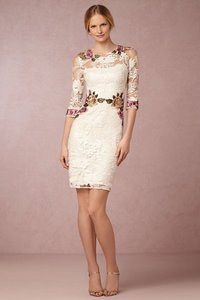 White, Ivory Lace And Colorful Floral Embroidery Gabrielle Embroidered Dress Dress