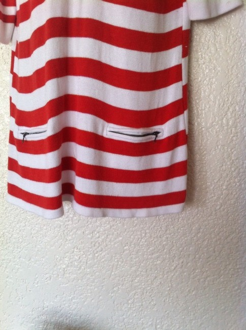 Coldwater Creek Orange White Stripes Short Sleeve Sailor Nautical Tunic Sweater